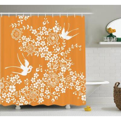 Issam Oriental Floral Japanese Birds Exquisite Asian Pastel Spring Pattern Art Shower Curtain Size: 69 W x 70 H