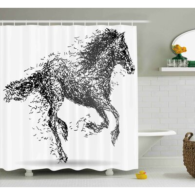 Rosalina Modern Sketchy Futuristic Unusual Patterned Line Combined Animal Horse Figure Image Shower Curtain Size: 69 W x 70 H