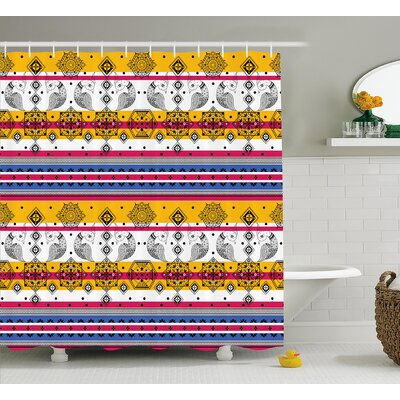 La Capture Tribal Colored Indian Paisley Details With Animal Birds Shower Curtain Size: 69 W x 70 H