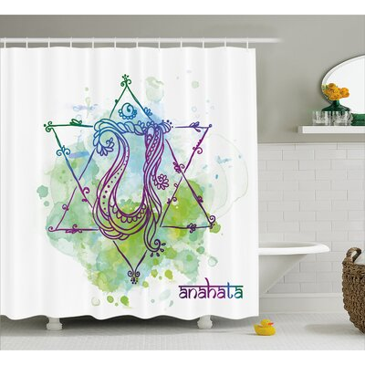 Phelps Chakra Indian Occult Sign With Distressed Trippy Blowing Healing Soul Mystic Energy Zen Shower Curtain Size: 69 W x 70 H