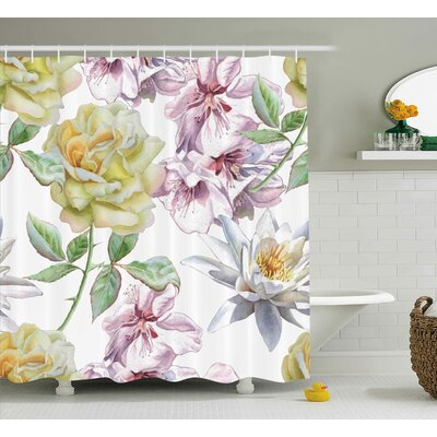 Leia Rose Petals Sakura Lily Flowers Blooms Romance Florets Design Shower Curtain Size: 69 W x 70 H