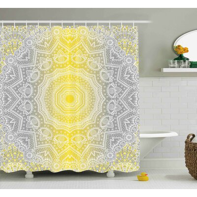 Paige Grey and Yellow Mandala Ombre Old Boho Pattern With Spiral Round Embellished Floral Print Shower Curtain Size: 69