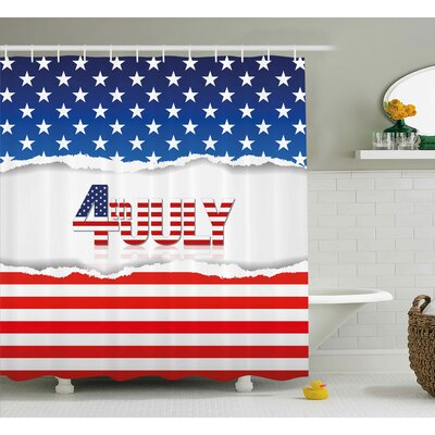 4th of July Big Little Stars With Inner Us Flag Pattern Love My Homeland Illustration Shower Curtain Size: 69 W x 70 H