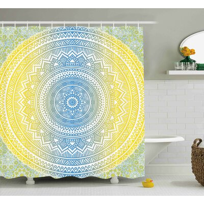 Morley Blue and Yellow Ombre Mandala Oriental Universe Spirit and Ritual Themed Symbol Image Art Shower Curtain Size: 69 W x 70 H