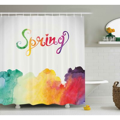 Joshua Quote Spring Lettering With Rainbow Fog Like Ombre Colored Romantic Modern Image Shower Curtain Size: 69