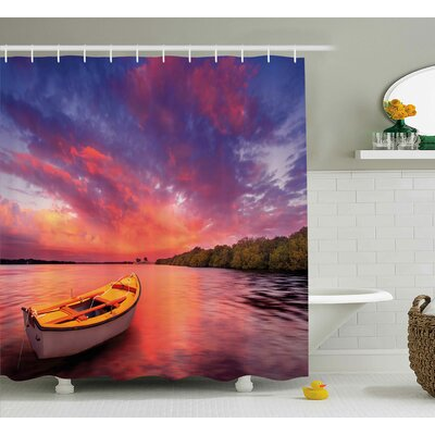 Marcy Sunset Enchanted Coast With a Rowboat Under Magical Hazy Sky Peaceful Nature Image Shower Curtain Size: 69 W x 70 H