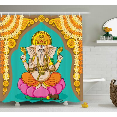 Mei Indian Elephant Shower Curtain Size: 69 W x 84 H