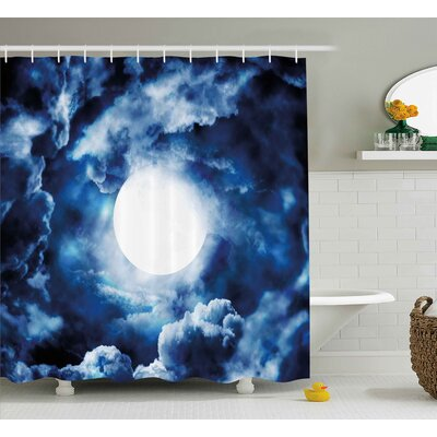 Jeannie Moon on Sky Surrounded By Storm Clouds Lunar Magic Dark Twilight Dawn Foggy Hallows Image Shower Curtain Size: 69 W x 70 H