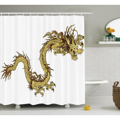 Penny Dragon Fire Dragon Zodiac Large Claws Symbol of Power Chinese Astrology Mythology Shower Curtain Size: 69 W x 70 H