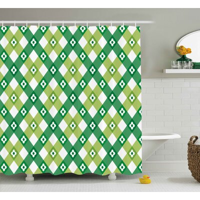 Sallie Striped Retro Flower Motif With Cross Line Groovy Old Fashion Print Shower Curtain Size: 69