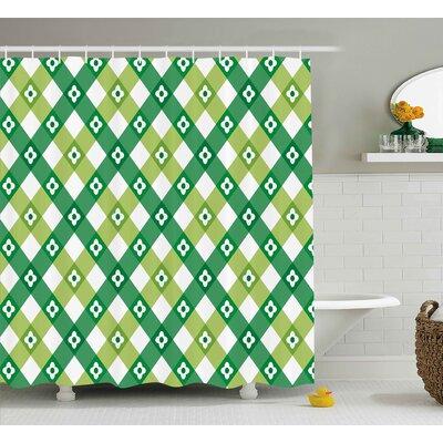 Sallie Striped Retro Flower Motif With Cross Line Groovy Old Fashion Print Shower Curtain Size: 69 W x 70 H