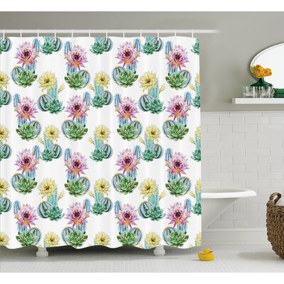 Sharon Hot Desert South Mexican Vintage Plant Cactus Flowers With Spikes Shower Curtain Size: 69 W x 70 H