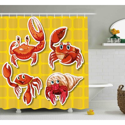 Margret Stickers of Four Different Crabs Ilustration Cartoon Style Print Shower Curtain Size: 69 W x 70 H