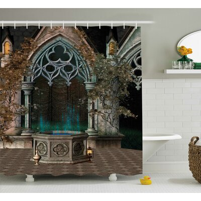 Gothic House Mystical Patio With Enchanted Wish Ivy Antique Gateway to Magical Forest Shower Curtain Size: 69 W x 84 H