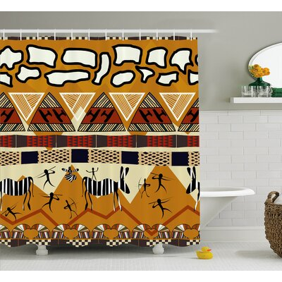 Penaloza Tribal Ethnic African Hunting Zebra With Arrow Prehistoric Tribe Life Theme Shower Curtain Size: 69 W x 70 H