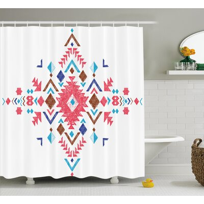 Racquel Tribal Colored Hand Drawn Ethnic Pattern With Geometrical Like Frame Art Shower Curtain Size: 69 W x 70 H