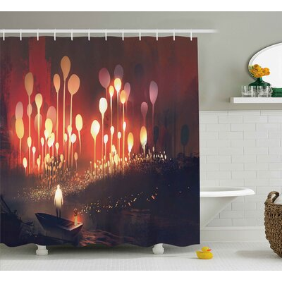 Paulette Fantasy Night Scenery of Enchanted Forest With Trees and Man Shower Curtain Size: 69 W x 70 H