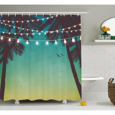 Azemmour Night Time Beach Sunset With Little Lantern and Island Palm Trees Art Print Shower Curtain Size: 69 W x 70 H