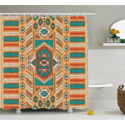 Molly Tribal Indian Aztec Secret Tribe Pattern Native American Bohemian Style Shower Curtain Size: 69 W x 70 H