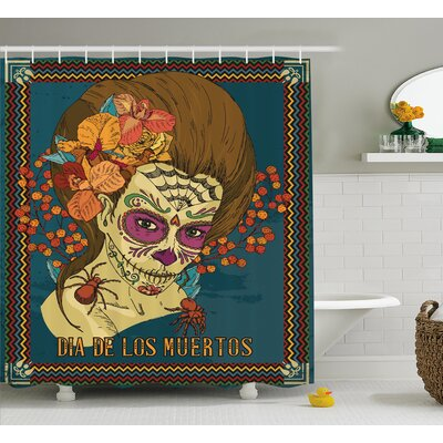 Melba Day of The Dead Dia De Los Muertos Skull Girl With Roses Hearts Print Shower Curtain Size: 69 W x 70 H