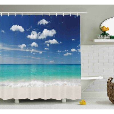Kelley Tropical Summer Beach With Exquisite Sky Relax Holiday Away Serene Coast Scenery Shower Curtain Size: 69 W x 70 H