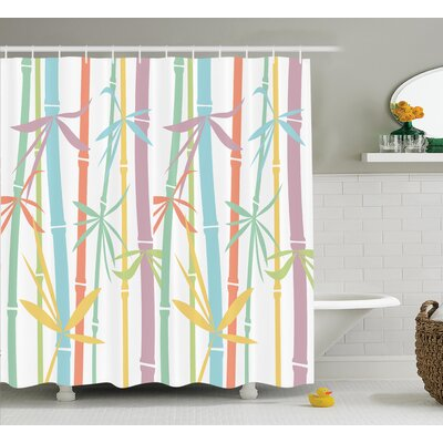 Angelia Japanese Colored Exotic Bamboo Stems Eastern Spiritual Tropic Woody Grass Design Shower Curtain Size: 69 W x 70 H