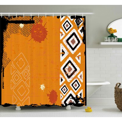 Muriel Tribal Ethnic African Design With Bold Lines Geometric Triangles Artwork Image Shower Curtain Size: 69 W x 70 H