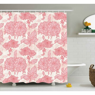 Madelynn Flowers Gardening Plants Theme Dahlias Flowers and Leaves Illustration Romantic Design Shower Curtain Size: 69 W x 70 H