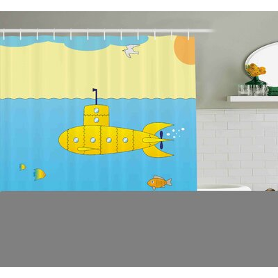 Florine Yellow Submarine Cartoon Under Sea Adventure Jellyfish Treasure Chest Seagull Fish Shower Curtain Size: 69 W x 70 H