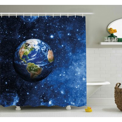 Johnny Outer View of Planet Earth Shower Curtain Size: 69 W x 84 H