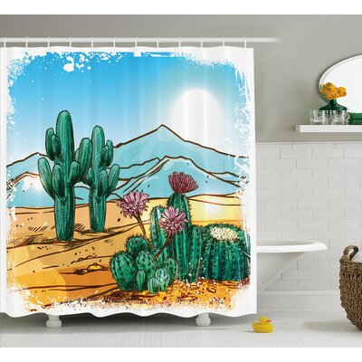Zyana Vector Image With Cartoon Design Cactus Flowers Mountains Desert Sand Sun Art Shower Curtain Size: 69 W x 70 H