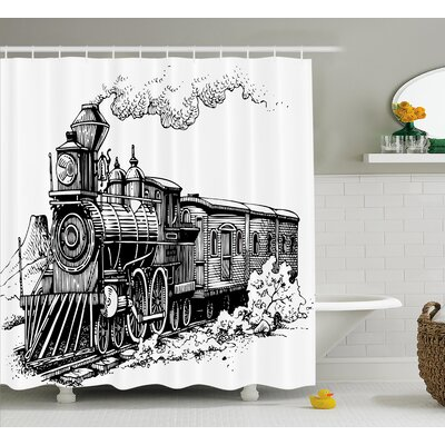 Jana Steam Engine Rustic Old Train Shower Curtain Size: 69 W x 75 H