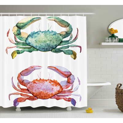 Buckner Crabs Watercolor Style Effect Sea Animals Theme Pattern Illustration of Crabs Print Shower Curtain Size: 69 W x 70 H