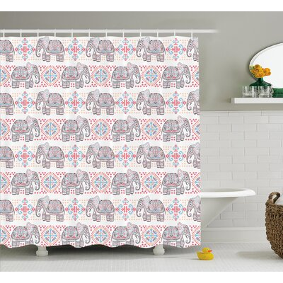 Lula Tribal Indian Asian Safari Animal Elephant Nature Pattern Ethnic Print Shower Curtain Size: 69 W x 70 H