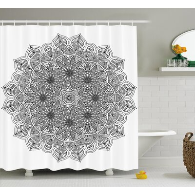 Erica Mandala Monochrome Embellished Pattern Ancient Mystical Heritage Henna Cosmos Icon Artwork Shower Curtain Size: 69 W x 84 H