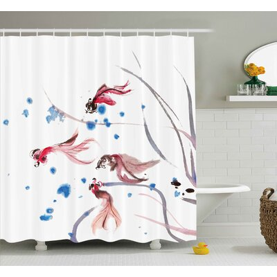 Snyder Chinese Traditional Ink Painting Stylized Koi Fish Figures Asian Ethnic Artwork Shower Curtain Size: 69 W x 70 H