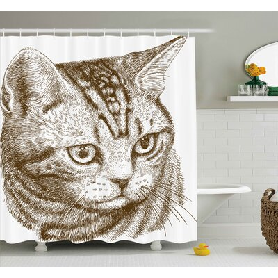 Mauricio Cat Portrait of a Kitty Domestic Animal Hipster Best Company Fluffy Pet Graphic Art Shower Curtain Size: 69 W x 70 H