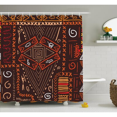 Paddington Aboriginal Patterns Tribal Motifs Objects Collage of Cave Pictures Print Shower Curtain Size: 69 W x 70 H
