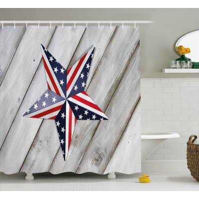 4th of July Independence Day Banner With Balloons National Parade Country Image Shower Curtain Size: 69 W x 70 H
