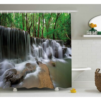 Arlene Nature Waterfall At Forest Shower Curtain Size: 69