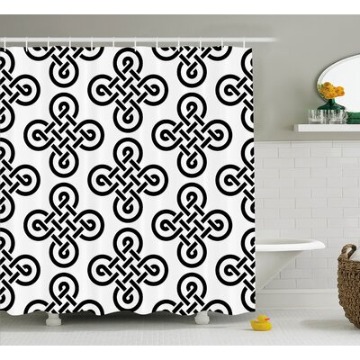 Theodosia Old-Fashion Irish Knot Motifs Symmetric Regular Design European Culture Theme Shower Curtain Size: 69 W x 84 H