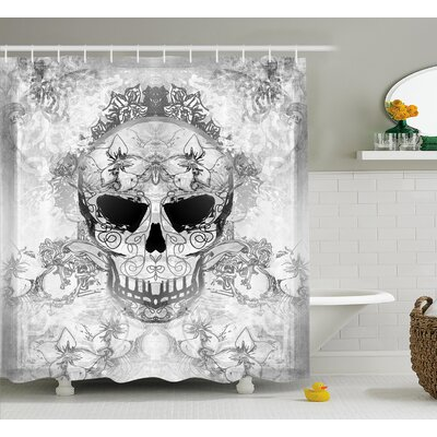 Lora Day of The Dead Skull With Oriental Paisley Decor Festive Celebration Print Shower Curtain Size: 69 W x 70 H
