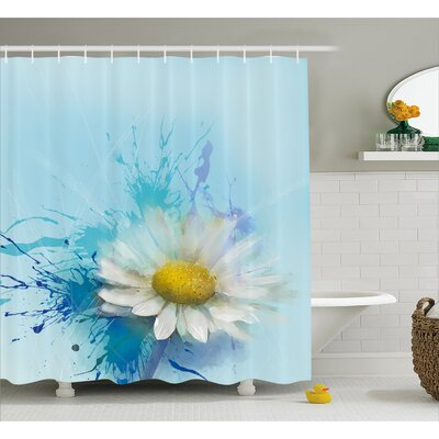 Mathis Oil Painting Chamomile Pattern With Splash on Background Image Shower Curtain Size: 69 W x 70 H