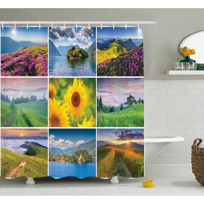Murray Colorful Summer Landscapes Idyllic Mother Earth Meadows Clouds and Sun Print Shower Curtain Size: 69 W x 70 H