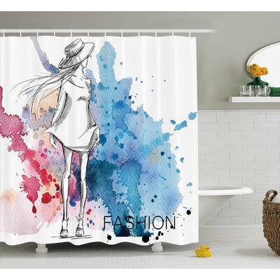 Tiffany Sketchy Fashion Lady Hat At Watercolor Splash Brushstroke Steam Artsy Image Shower Curtain Size: 69 W x 75 H