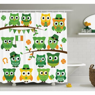 St. PatrickS Day Irish Owls With Leprechaun Hats on Trees Shamrock Leaves Horseshoe Shower Curtain Size: 69 W x 70 H