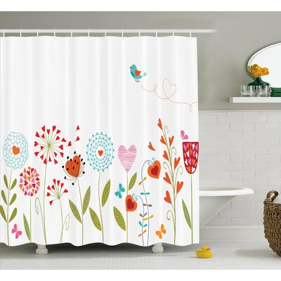 Dolores Flower Romantic Design With Flowers Hearts Birds and Leaves Stripes Lines Artwork Shower Curtain Size: 69 W x 84 H