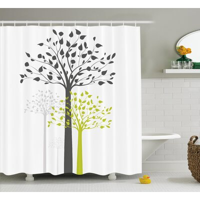 Avery Mother Nature Theme Trees With Leaves Pattern Decorations For Home Shower Curtain Size: 69