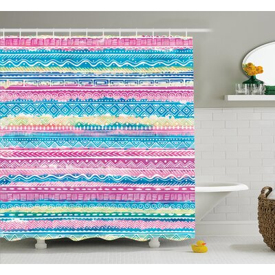 Gretchen Tribal Watercolor Tie Dye Effect Art Stripes Aquatic Theme Bohemian Aztec Print Shower Curtain Size: 69 W x 70 H