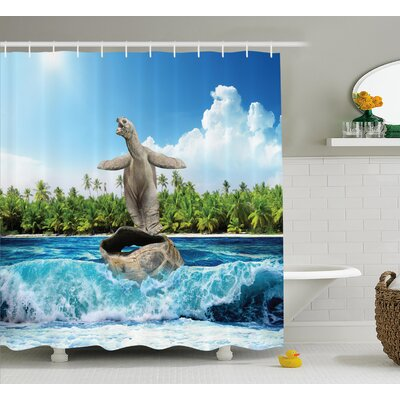 Jean Animal Naked Turtle Left Its Big Shell Surfing on Its Home on The Ocean Sunny Beach Print Shower Curtain Size: 69 W x 70 H